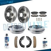 Front Rotors + Brake Pads + Rear Drums And Shoe For 2001 - 2004 2005 Honda Civic