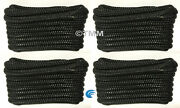 4 Black Double Braided 1/2 X 20and039 Ft Boat Marine Hq Dock Lines Mooring Ropes