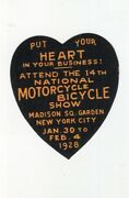 Poster Stamp Label National Motorcycle Bicycle Show 1928 Ny Madison Sq Garden