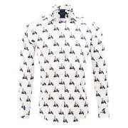 Guide London White Cotton Sateen 1950and039s Retro Vespa And Girl Print Mens Shirt