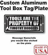 Tool Box Plate Tag Hot Rod Chevy Ford Dodge Data Information Plate