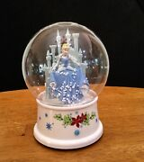 Disney Cinderella And Castle Musical Snowglobe-gemmy-no Water-air Flakes-exc.