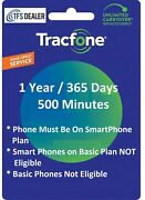 Tracfone Service Extension 1 Year/365 Days+500 Mins For Phones W Smartphone Plan