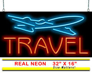 Travel With Plane Neon Sign   Jantec   32x 16   Airport Hotel Motel Fly Car