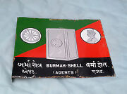 1930and039s Vintage Double Sided Burmah Shell Agents Porcelain Sign Board England