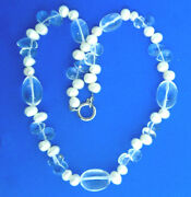 Freshwater Pearl Crystal Glass Bead Strand Necklace 12/x18