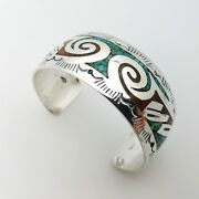 Navajo Gibson Gene Sterling Silver Crashed Turquoise Coral Inlay Bangle Bracelet