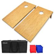 Gosports Regulation Size Bamboo Cornhole Boards Set   8 Bean Bags And Carry Case
