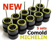 164 Comold Yellow Ring Rim Michelin Tire Fit Hot Wheels Diecast - Lot Of 5 Sets