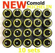 164 Comold Yellow Ring Rim Michelin Tire Fit Hot Wheels Diecast - 10 Sets