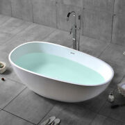 Oval Freestanding Soaking Bathtub Stone Resin Tub With Center Drain And Overflow