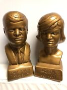 """Vintage John F. Kennedy Jfk And Jacqueline Kennedy 6"""" Chalkware Bust Statues Pair"""