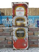 1920s Vintage Extra Rare Herberts Fine Whisky And Brandy Enamel Sign Board England