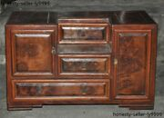 Antiques Old Chinese Boxwood Wood Ancient Jewelry Box Case Boxes Cabinet Statue