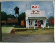 Roopville Georgia Pepsi Sign Painting Oil On Canvas 11 X 14 Signed Rose L Nash