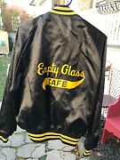 Vintage Jacket Baseball Style Snap Buttons Black Yellow Empty Glass Cafe Large