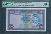 Brunei 100 Ringgit P10a 1976 Pmg 66 Epq Gem Unc Very Rare And Finest Known