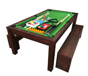 7ft Pool Table Billiard Green Became A Dinner Table With Benches - M. Rich Green