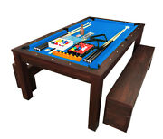 7ft Pool Table Billiard Blue Became A Dinner Table With Benches - M. Rich Blue
