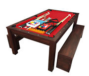 7ft Pool Table Billiard Red Become A Dinner Table With Benches - M. Rich Red