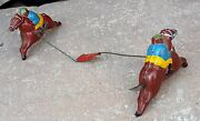 1930's Vintage Rare Early Hand Painted Horse And Jockey Pair Tin Toy, Germany