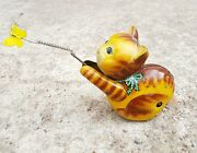 1950's Vintage Rare Cat Chasing Butterfly Windup Litho Tin Toy-top Working,japan