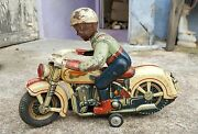 1950's Vintage Rare Modern Toys-police Battery Opr. 11 Motorcycle Tin Toy,japan