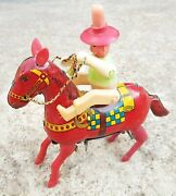 1950s Vintage Cowboy On Horse Windup Cloclwork Tin Toy Good Working Condition
