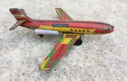 1960's Vintage Rare V 68 Indian Air Force-vti Star Jet Friction Tin Airplane Toy