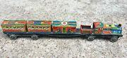 1950and039s Vintage Rare Military Soldiers And War Cannon Printed Tin Toy Train Japan