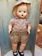 1910's Antique Scarce Early Big 17.75 Cloth Covered Porcelain Doll Toy, Germany