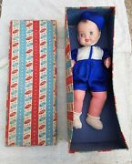 1940and039s Vintage Beauticraft 15.5 Porcelain And Cloth Kidartand039s Doll Toy Germany