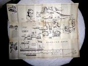 Vintage Illustrated Map Knotts Berry Farm Ghost Town By Bell 1950and039s Signed Lady