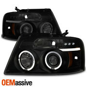 Fits 2004-2008 F150 F-150 Black Smoked Halo Projector Led Headlights Left+right