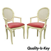 Pair French Hollywood Regency White Faux Bamboo Cane Back Arm Chairs Pink Fabric