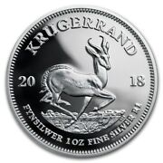 2018 South Africa 1 Oz .999 Silver Krugerrand Capsuled Proof Coin W/ogp And Coa