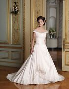Pre Owned Sophia Tolli Wedding Dress Size 12 Champagne In Color Long Trane