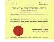 Authentic Vintage 1963 Stock Certificate For The Metal Box Company Limited