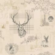 Richmond Highland Stag Wallpaper Charcoal Holden 98012 Cream Feature Wall New