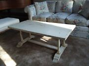Antique Distressed Painted Pale Yellow Wooden Coffee Table. Unique Spooled Legs