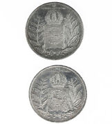 Raw 2 Pack 1851 And 1852 Brazil 2000 Reiss Vintage Brazillian Silver Coin Lot
