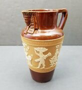 Royal Doulton Antique Pitcher Lambeth Egyptian Motif Jug Signed Annie Neal 1889