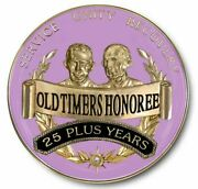 Plum 25 Years Plus And039old Timersand039 Honoree Tri-plate Coin Medallion Aa Alcoholics A