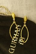 Gurhan Geo 24k Hammered Solid Yellow Gold Marquise Dangle Drop Post Earrings