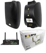 2x 6.5 300w 2-way Surface-mount Outdoor Home Speakers 80w 2/4 Channel Amp Black
