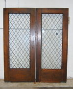 Antique 1910s Arts And Crafts Quarter Sawn Oak Leaded Glass Swinging French Doors