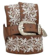 Angel Ranch Western Womens Belt Leather Floral Crystals Embroidery Brown Da6252