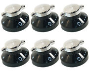 6 X Oven Gas Control Knobs Hob Cooker Switch Chrome Black Silver For New World
