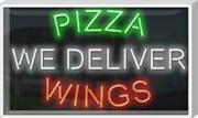 Outdoor Pizza Wings We Deliver Neon Sign | Jantec | 37 X 22 | Carry Out Open