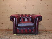 Chesterfield Chair Original English Vintage In Bordeaux Leather.